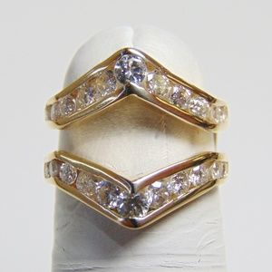 14KT Y/G Diamond Insert Band Double Band Surround